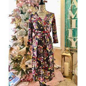 Boden Floral Grey Wrap Top Knit Shift Dress!